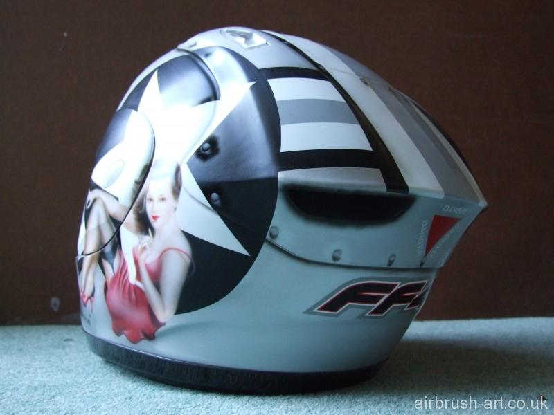 Rear view of Miss Behavin helmet.