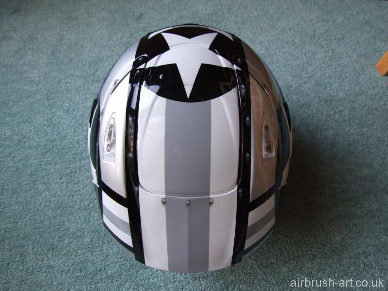 Top view of airbrushed helmet.