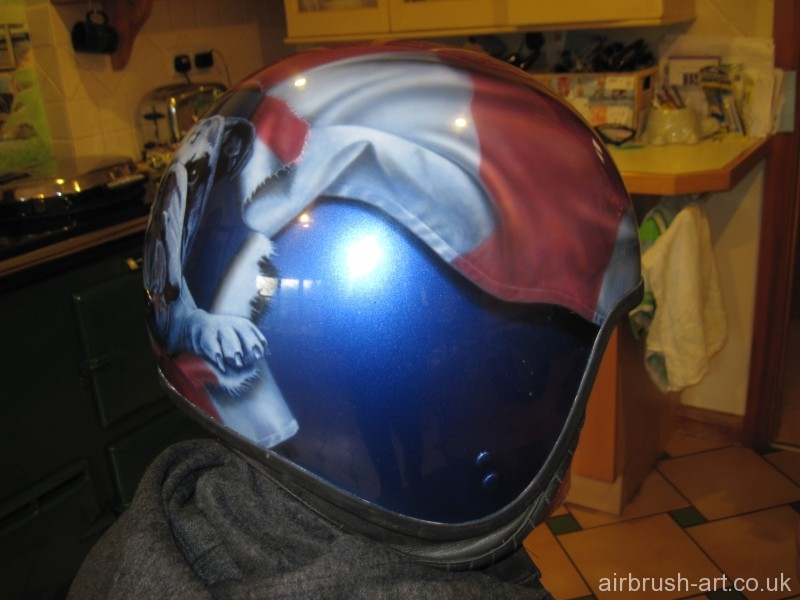 Side view of bulldog helmet.