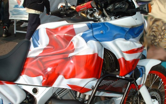 Union Jack Flag on a Honda Africa