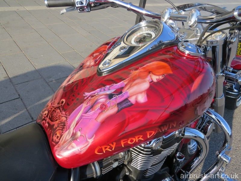 American comic figure, Cry for Dawn theme on Triumph Thunderbird motorcycle.