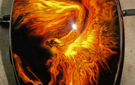 Flaming Eagle on Harley-Davidson