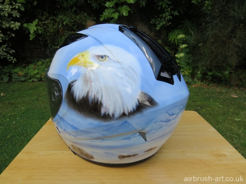 Airbrushed Bald Eagle on helmet.