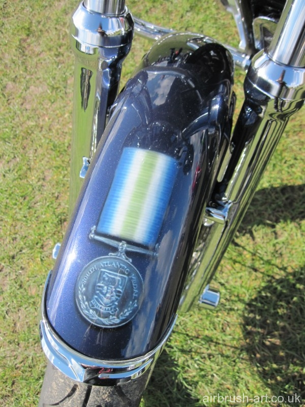 A Falkland war medal has been airbrushed on the front mudguard.