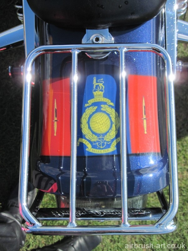 Royal Marines flag on the rear mudguard fender.