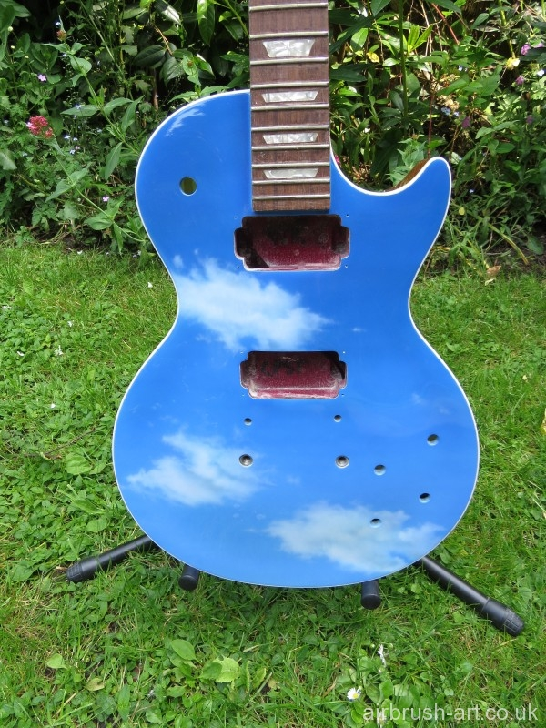 Sky blue guitar prior to stringing.