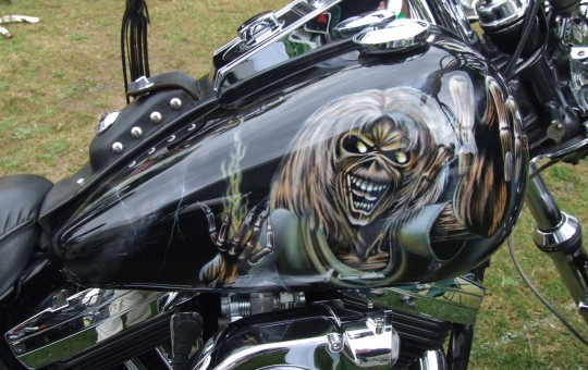 Iron Maiden's Eddie on Harley motorcycle.