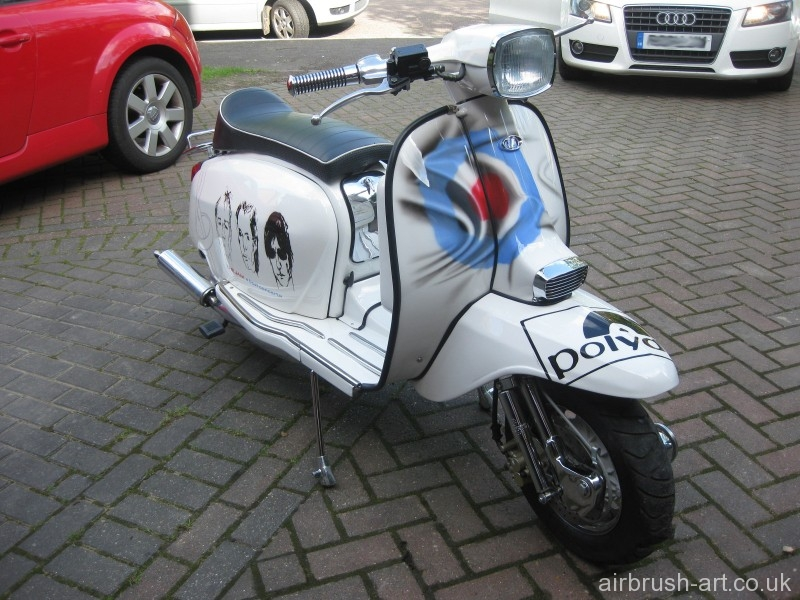 The Jam custom paint theme on a Lambretta GP with mod target on legshield.