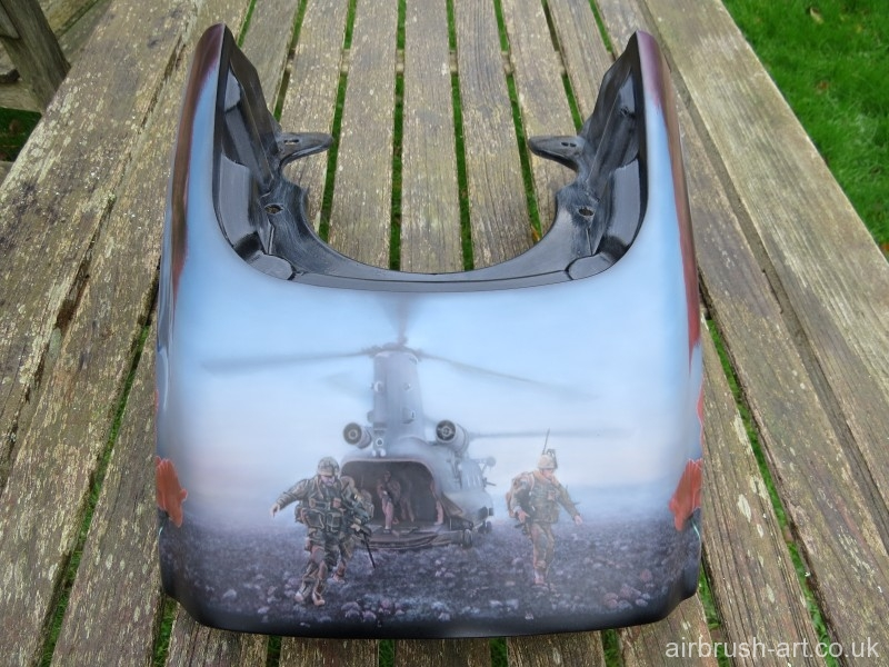 Rear of Harley panel showing airbrushing of Paratroopers leaving their landed helicopter.