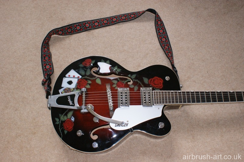 The complete airbrushed guitar.