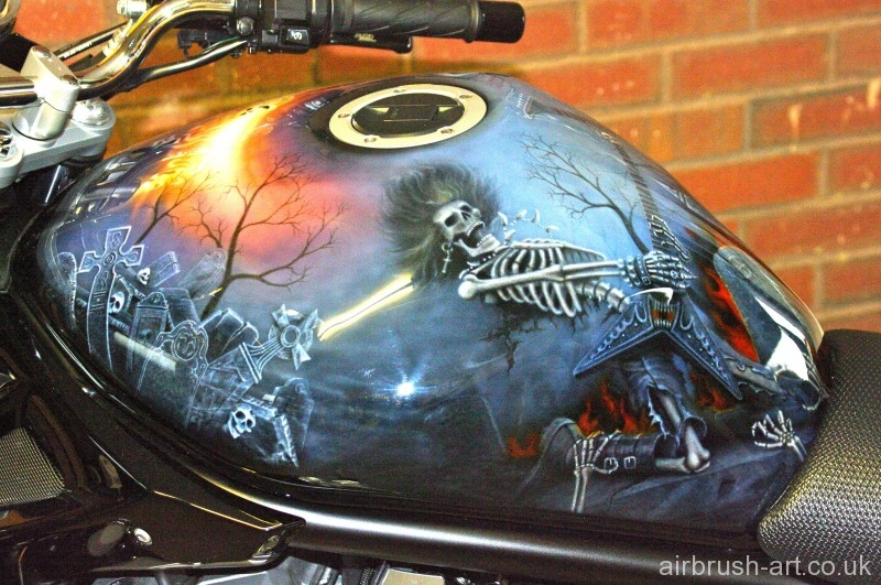 Grave yard scene airbrushed on Suzuki Bandit tank.