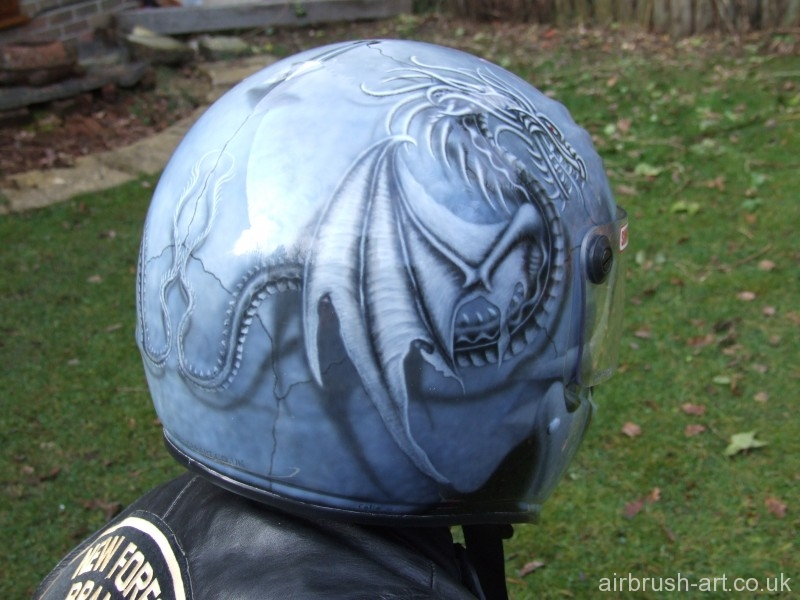 Rear detail of Simpson helmet with dragon wing.