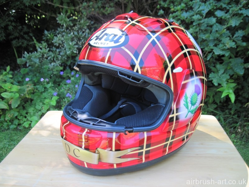 Side view of custom painted Arai tartan helmet.