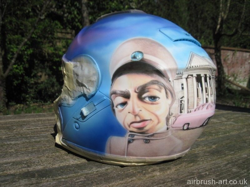 Thunderbird Parker on motorcycle helmet.
