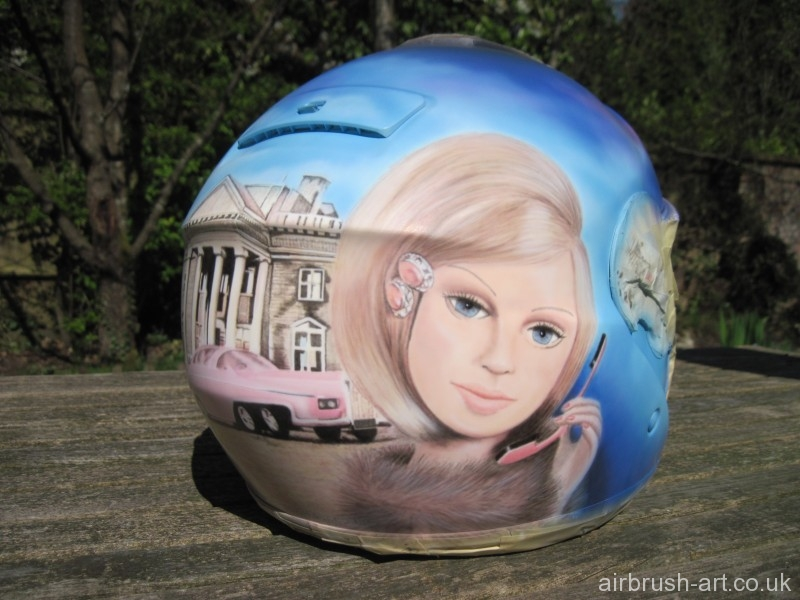 Lady Penelope airbrushed on helmet.