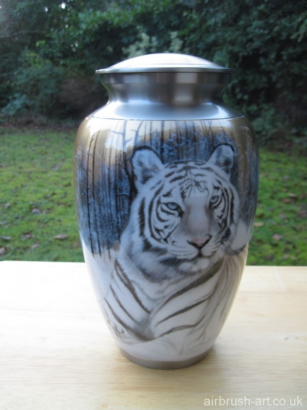 Pewter and brass cremation urn with airbrushed white tiger.