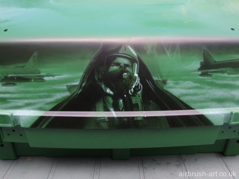Close up work of pilot airbrush artwork.