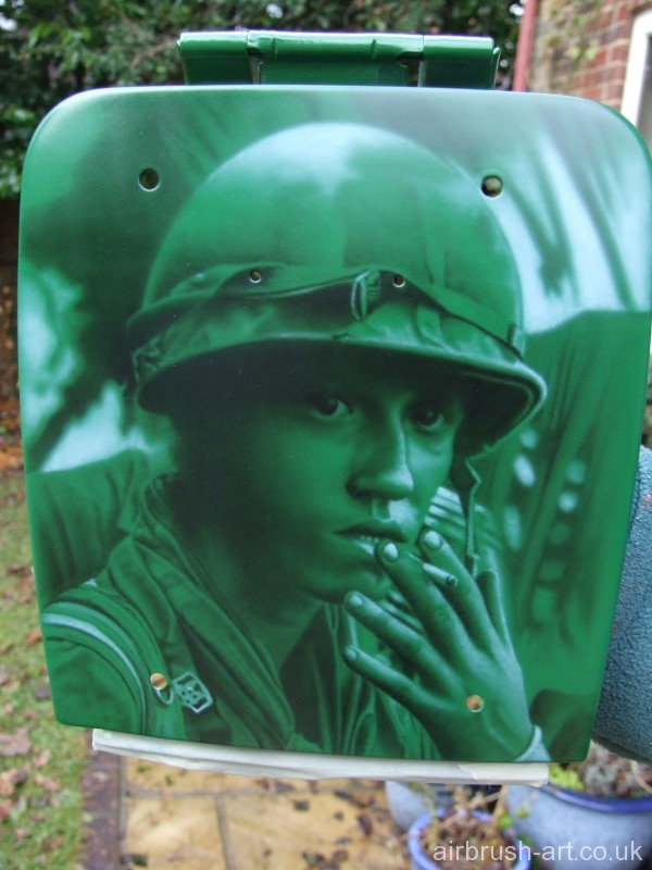 Vietnam Soldier on the petrol lid of Goldwing Motorcycle.