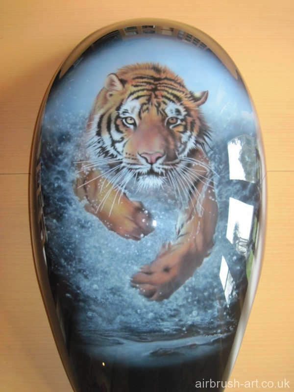Leaping  through water tiger on Vrod Motorcycle Airbrushed Tank.