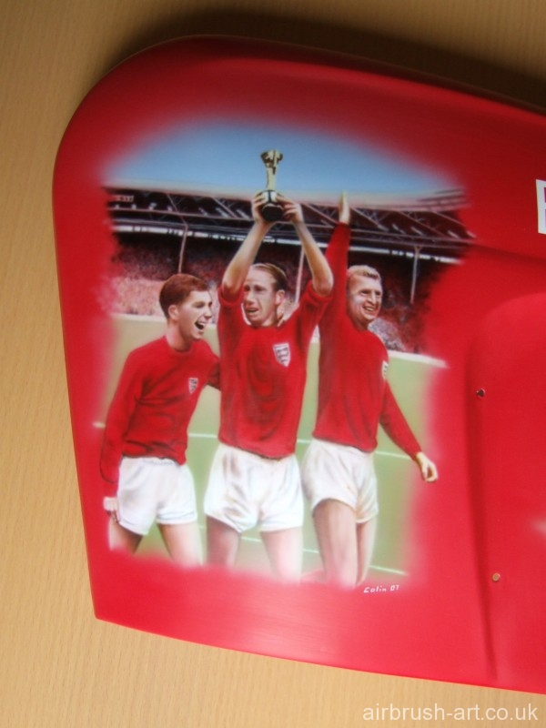 1966 World cup England victory on Lambretta airbrushed side panel.